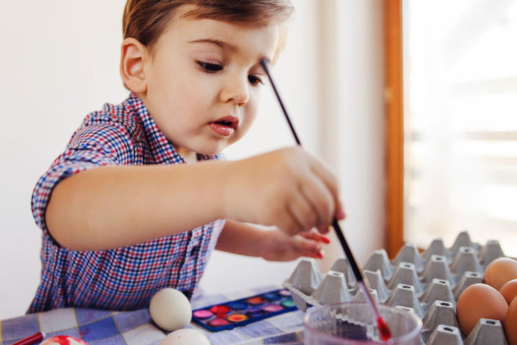Cute boy painting eggs home