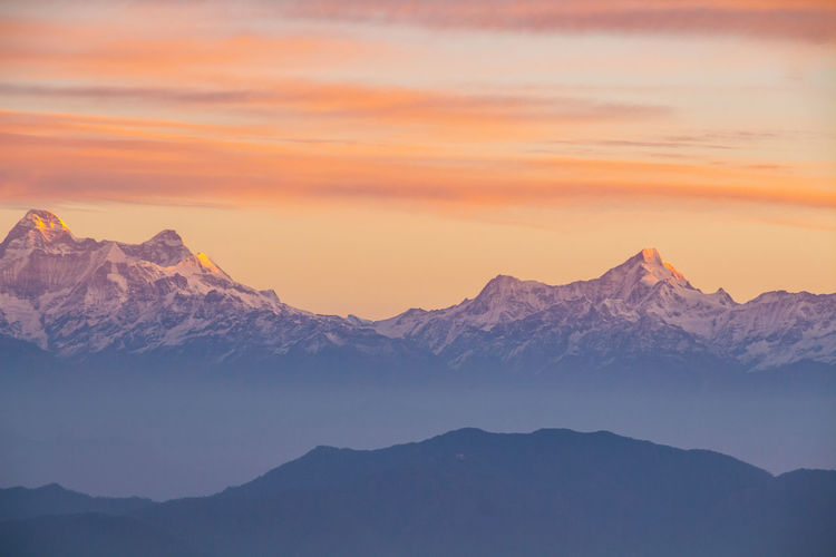 Shot of the himalayas at dawn from the mukteshwar rest house.