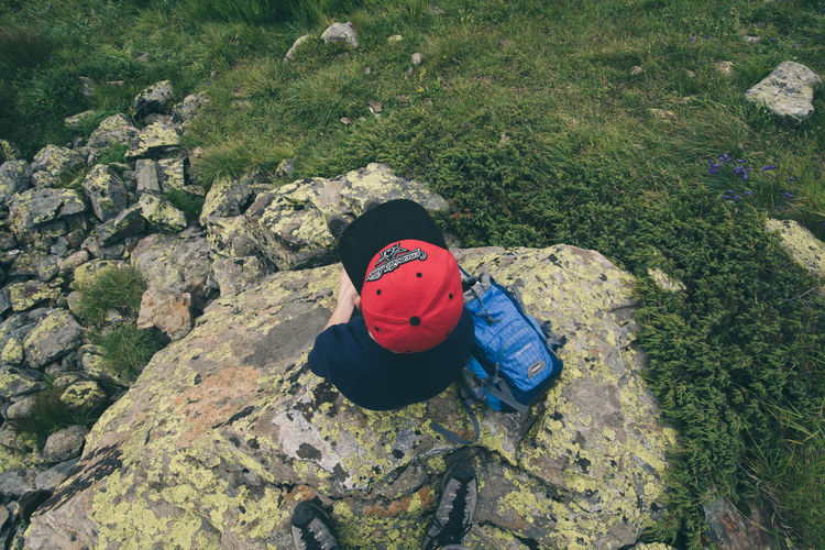 From Above A Bird's Eye View Backpack Cap Childhood Creativity Day Field From Above  Grass Green Color Hiking Hikingadventures Mask - Disguise Multi Colored Mütze Outdoors Pause Red Rest Rucksack