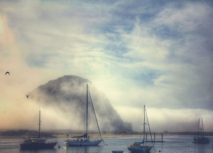Highway 1 Nature Beauty In Nature Boats American Flag Clouds Sailboat Transportation Boat Ocean Group Of Objects Foggy
