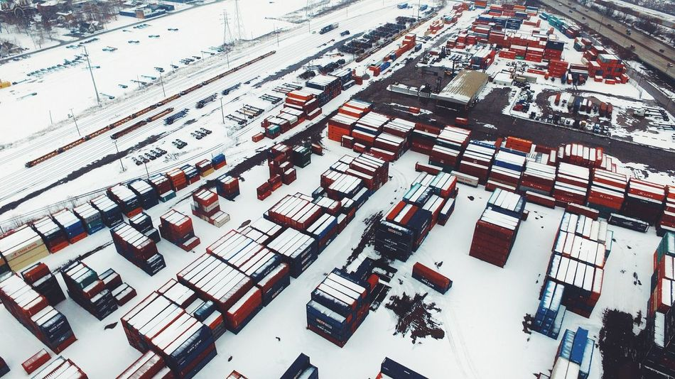 Industrail Shipping  Shipping Containers Train Tracks A Bird's Eye View