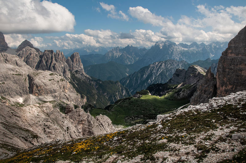 Scenic view of mountains against sky. the dolomites. italy.