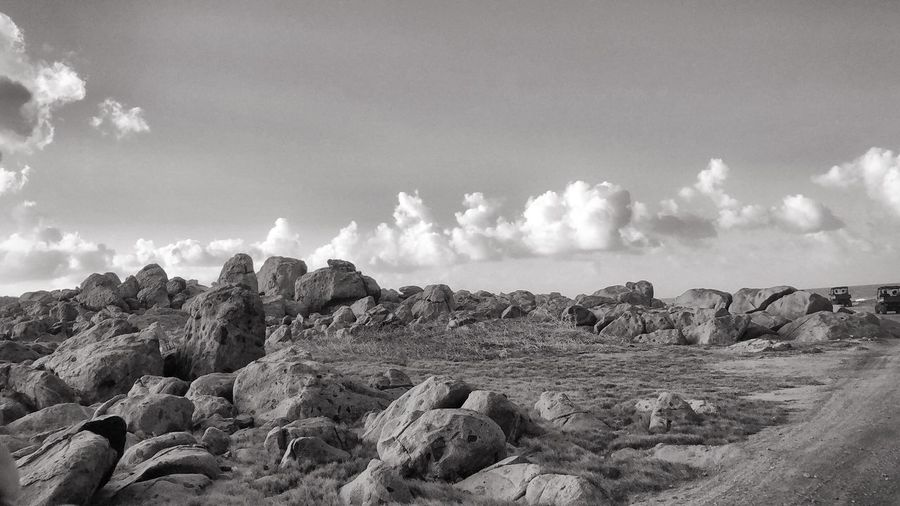 Rocky view in Aruba Rocks Black & White Blackandwhite Aruba Aruba♥ Sky Cloud - Sky Day Nature Tranquility Tranquil Scene Land Beauty In Nature Landscape No People Scenics - Nature Environment Rock Outdoors