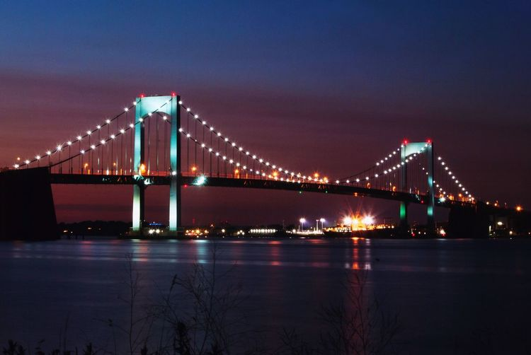 Throgs Neck Brigde Sunset Bridge Illuminated Built Structure Bridge - Man Made Structure Water Connection Sky Suspension Bridge Travel Destinations Reflection Transportation Architecture Travel Bay River Night