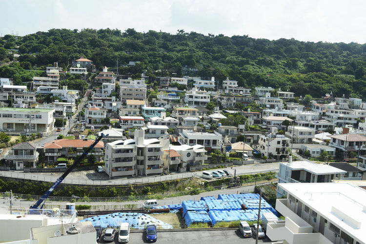 High angle view of townscape against sky