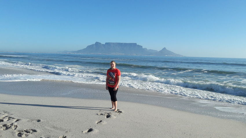 Sea Beach One Person Day Outdoors Table Mountain Blaauwberg Beach South Africa
