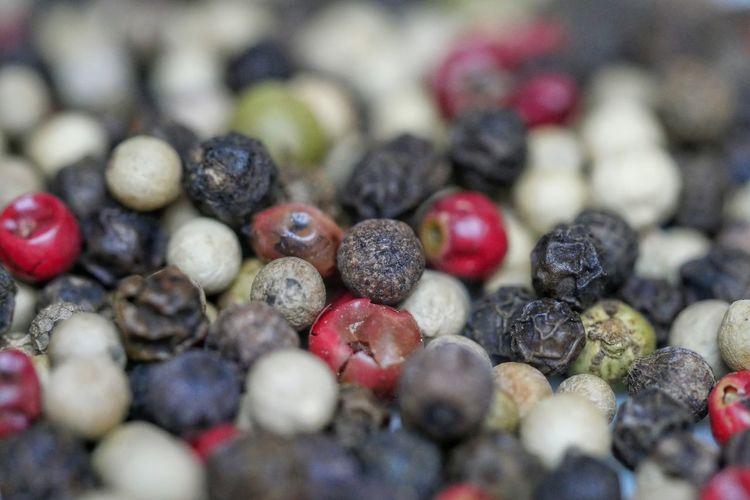 Full Frame Shot Of Peppercorns On Table