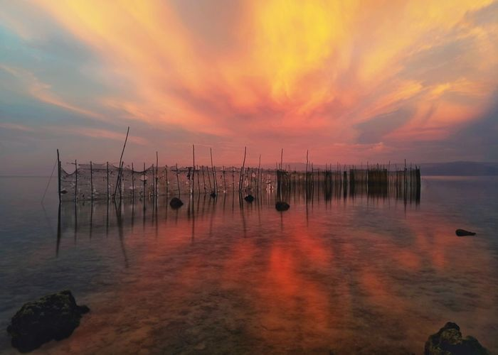 Sunset Reflection Outdoors Sky Water Landscape Travel Nature Tranquility Cloud - Sky Beach Travel Destinations No People Day Beauty Eyeem Philippines Silky Water