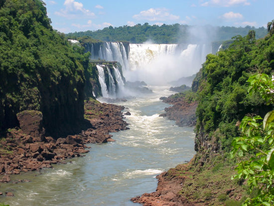Argentina Brasil Brazil Cascade Falls Famous Flowing Water Foilage Green Iguazu Iguazu Falls Landscape Lush Motion Natural Nature Power In Nature River South America Spectacular Tourism Tropical Water Waterfall