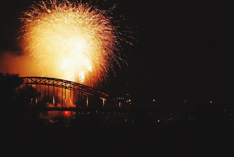 Night Photography Bridge Nijmegen Vierdaagse Nijmegen Waalbrug Nijmegen Fireworks Darkness