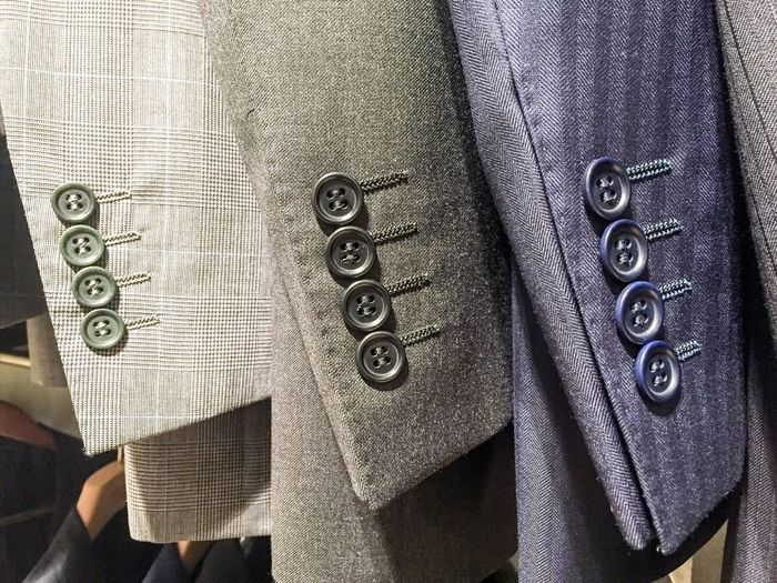4 buttons x 3 Privilege Masculinity Boring Conform Conformity Office Wear Suits  Subtle Differences Formal Attire Buttons 4 Detail Suit Textile Pattern Full Frame Close-up Clothing Backgrounds No People Textured  Fashion Business Finance Textile Industry Material Warm Clothing