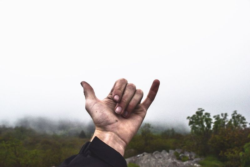 Cropped image of hand showing shaka sign on field against sky