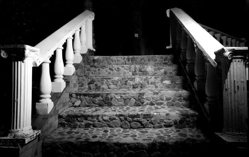 Steps Staircase Architecture Railing Built Structure No People Steps And Staircases City Outdoors Day Blackandwhite White Blancoynegro Black & White Stairs_collection Stairs & Shadows Rock P9 P9 Huawei P9photography Summer Exploratorium