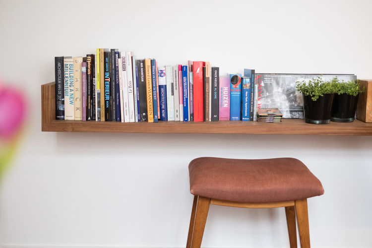 Close-up of books on table at home