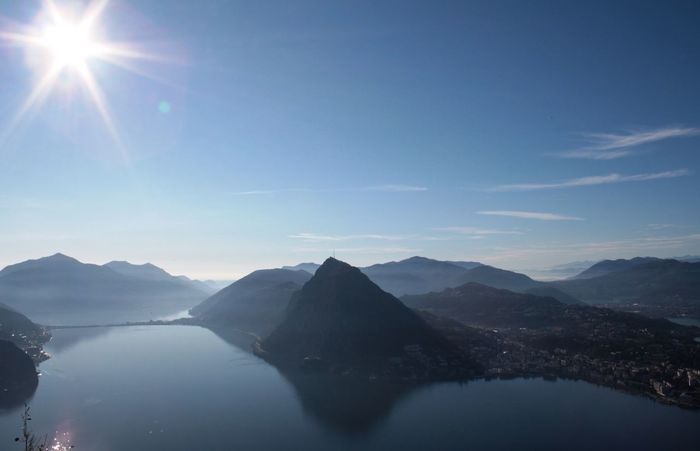 Blue Sky Lake Landscape Sky Sun Sun Rays View From The Peak view of Monte San Salvatore from Monte Bre TICINO ♡ Switzerland Canon Eos 1000d Mountain Lugano, Switzerland From Above  Hidden Gems