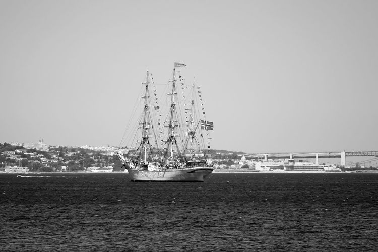 Black & White Black And White Blackandwhite Blackandwhite Photography Bnw Bridge Classic Boats Eye4photography  EyeEm Best Shots EyeEmBestPics From My Point Of View Sail Away, Sail Away Sailboat Sailing Seascape Seaside Sky And Clouds Waves, Ocean, Nature