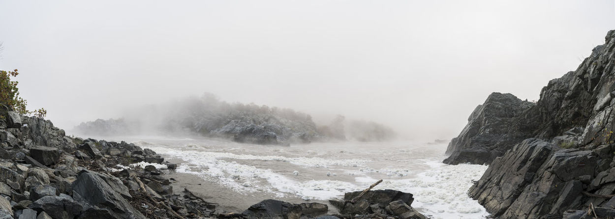 Beauty In Nature Cold Fog Geology Horizon Over Water Nature Non-urban Scene Outdoors Physical Geography Power In Nature Remote Rock Rough Scenics Sea Surf Tranquil Scene Tranquility Wave