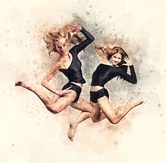 Two athletic girls jumping. Image combined with an digital effects. Digital art Activity Athletic Beautiful Woman Blonde Girl Brunette Girl  Dance Dancing Digital Art Digitally Generated Drawing Figure Fitness Full Length Girls Graphic Jumping Model Motion Pencil Sketch Slim Sport Sportive Two People Woman