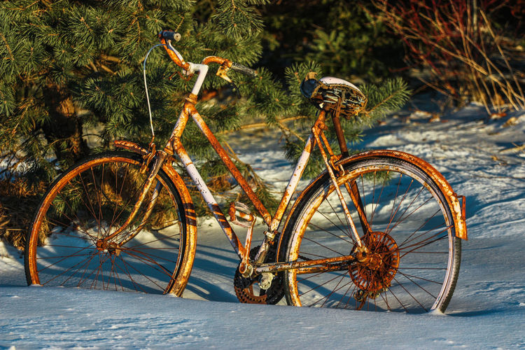 Bicycle On Snow Covered Field