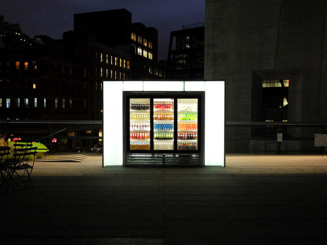 Beverages Architecture Building Exterior Built Structure Cold Beverages Drinking Illuminated Night No People Outdoors The Media Vending Machines