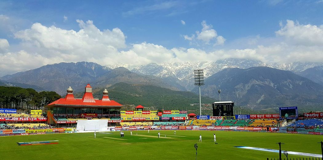 1st Test Match Cricket at this picturesque venue in Dharamshala Epic Cricket Field Cricket Match India Vs Australia Sport Mountain Cricket Stadium Beautiful View S6 Edge Photography Mobilephotography Himachal Cricket Stadium Dharamshsla