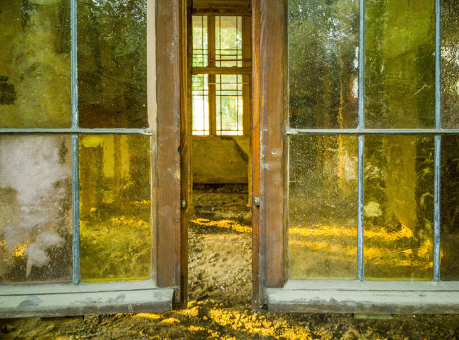 Abandoned Absence Architecture Building Built Structure Day Door Entrance Glass - Material House Nature No People Outdoors Plant Transparent Tree Window Window Frame Yellow