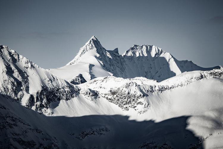 Grossglockner, highest peak of the austrian alps, as seen from sportgastein, austria