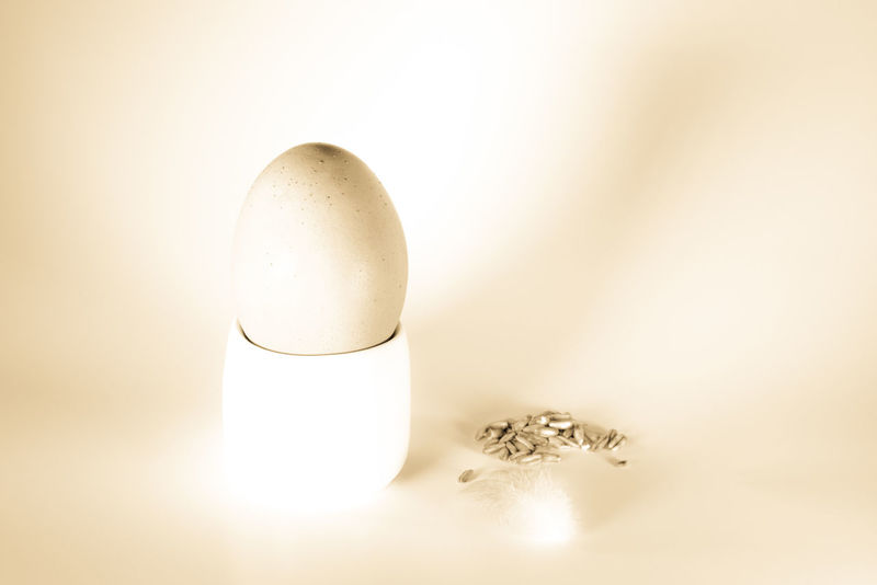 Still Life with Egg (Variations) Close-up Decoration Egg Eggcup Fragility Freshness High Key Indoors  Minimalism Monochromatic No People Oats Proverb Still Life Studio Shot Three Objects Monochrome Photography