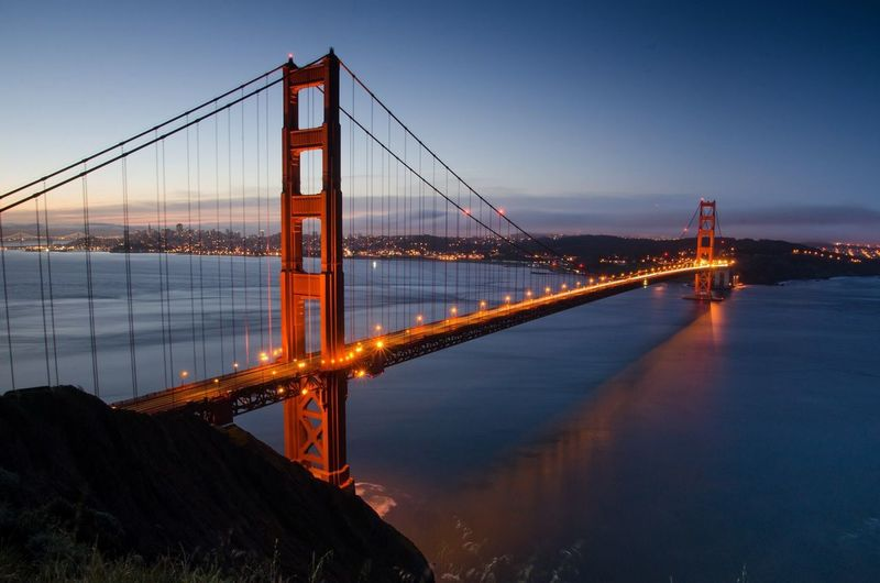 Golden gate bridge over pacific ocean at dusk
