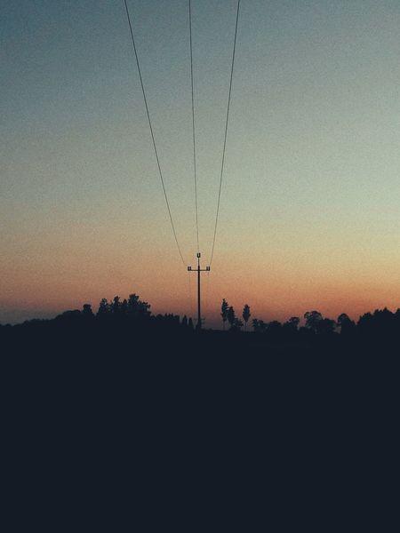 Sunset Night Out Of City Sky Electricity  Electricity Pylon