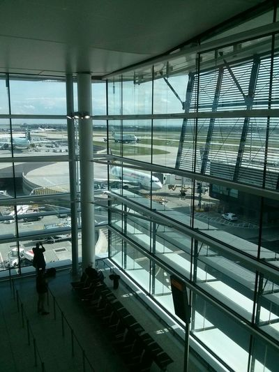 Heathrow Terminal2 Heathrow Airport Airplane Sky Public Transportation Public Transport People Glass Metal Window Runway Flying Traveling Travel Photography Travelling