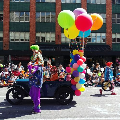 A whole bunch of colour at the Christmas pageant Merry Christmas Xmas Clowns Color Christmas Pageant Balloons Australia My Best Photo 2015 Christmas Around The World