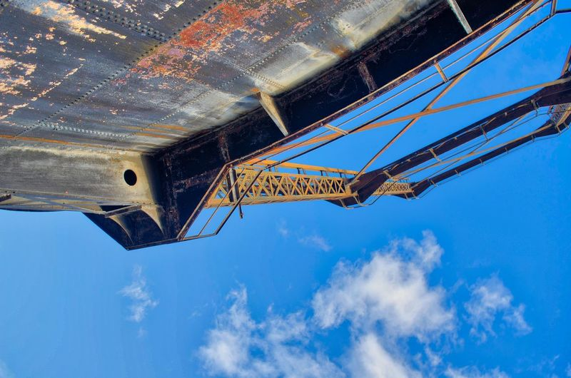 Athens Greece Gazi, Industrial museum Blue Low Angle View Sky Machinery No People Day Metal Cloud - Sky Nature Architecture Crane - Construction Machinery Outdoors Industry Construction Industry Roof Directly Below Built Structure Construction Machinery Construction Site Business Construction Equipment Roof Beam