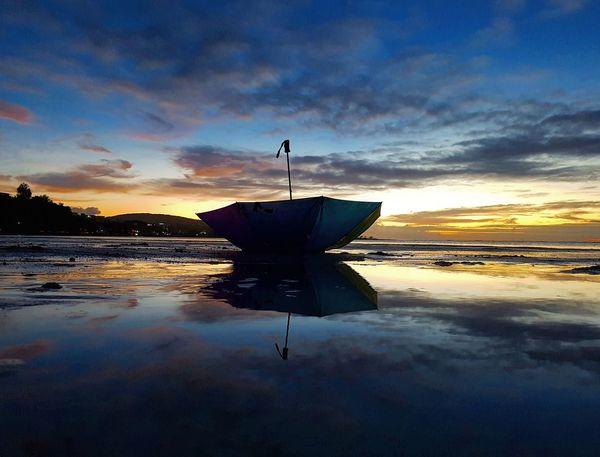 Reflection Water Sunset Cloud - Sky Outdoors Beach Island Life Guam Guamsunset Lowtide At Sunset Umbrella
