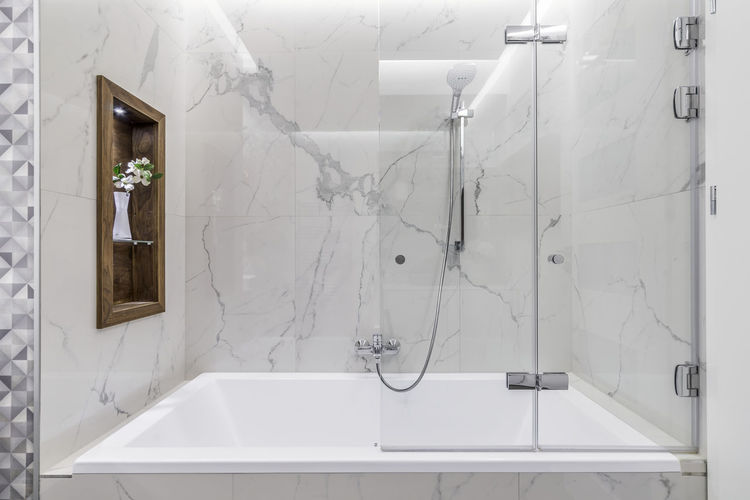 White wall in bathroom