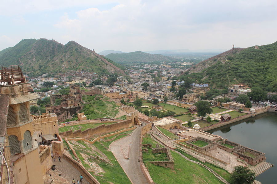 Aerial View Aerial View Architecture Beautiful Branch Building Exterior Built Structure City Cityscape Day Fort G High Angle View India Jaipur Landscape Mountain Mughal No People Outdoors Scenics Sky Terraced Field Travel Destinations Village Water