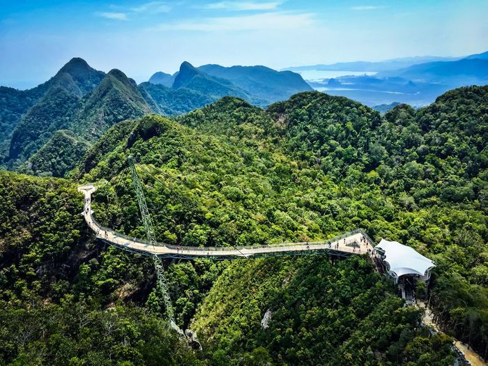 High angle view of langkawi sky bridge in green mountains