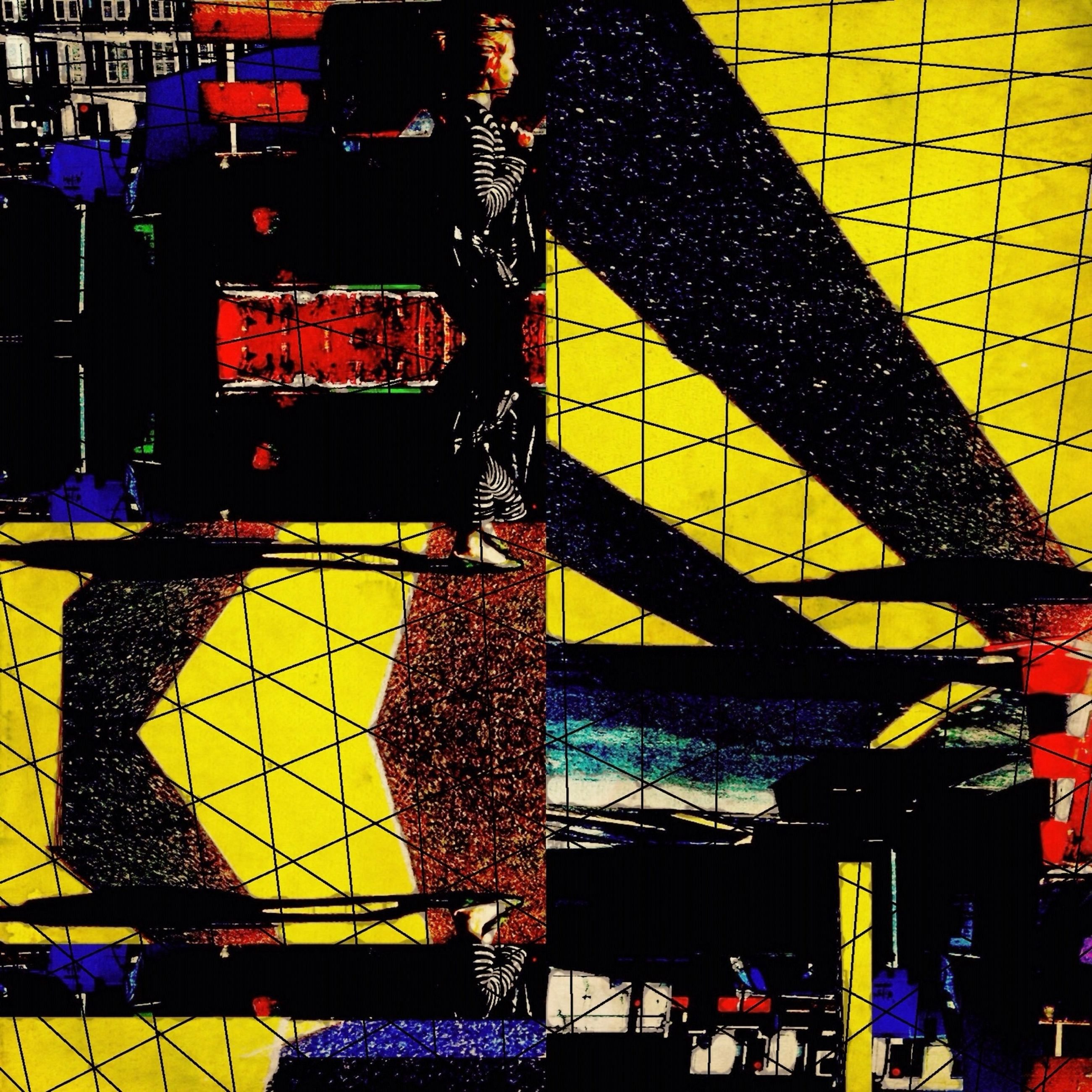 architecture, built structure, building exterior, yellow, multi colored, graffiti, wall - building feature, building, city, outdoors, day, pattern, no people, metal, low angle view, art, communication, residential structure, lighting equipment, text