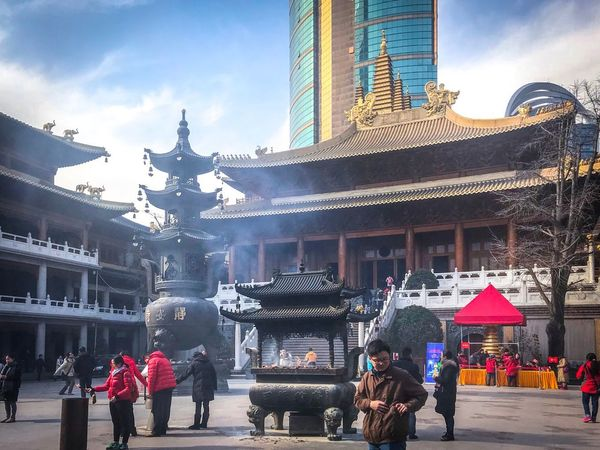 Temple Architecture Building Exterior Built Structure Real People Men Large Group Of People Women City Day People