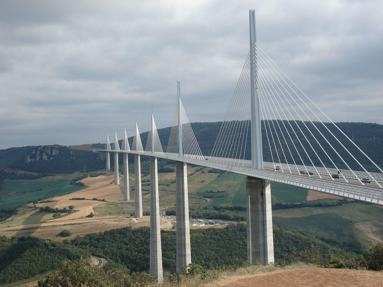 Millau viaduct against cloudy sky