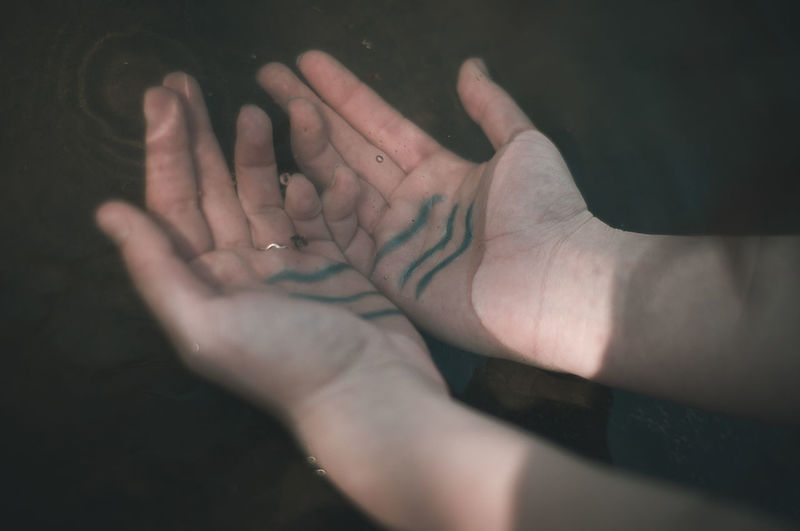 High Angle View Of Hands In Water