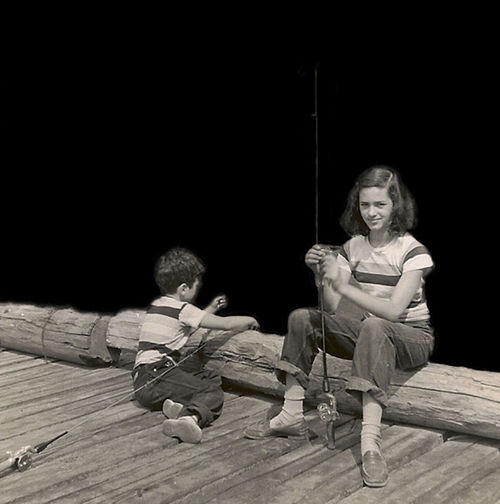 Grandfather's Lake Mother And Uncle Brother And Sister Child Childhood Dock Fishing Leisure Activity Sitting Teenager Two People
