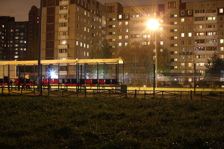 Night City Playground Built Structure Architecture Outdoors Building Exterior No People Illuminated Sky Football Soccer Cage Summer Grass The Week Of Eyeem