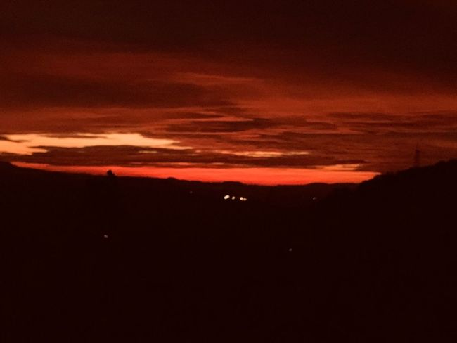 Sky Sunset Scenics - Nature Beauty In Nature Tranquil Scene Silhouette Tranquility Cloud - Sky Outdoors Dramatic Sky Non-urban Scene Copy Space Dark Orange Color Environment No People Nature Idyllic Landscape Night