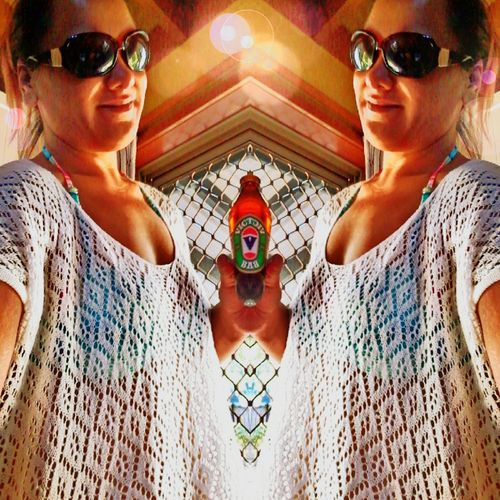 Selfie Having A Beer Beer O'clock Relaxing Femalephotographerofthemonth ❤Bliss❤ Taking Photos ❤ Pattern Pieces Patterns Everywhere Sunglasses👓 Summer Days