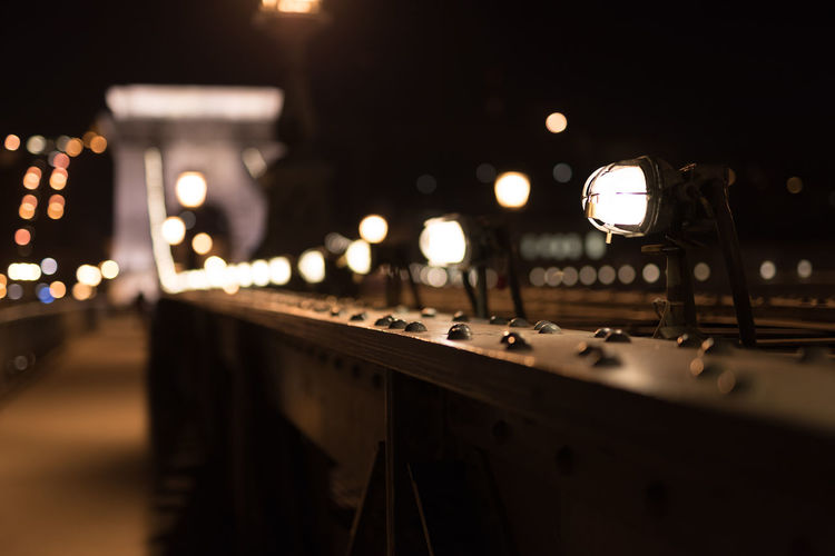 Bokeh Bridge Budapest Chain Bridge Close-up Hungary Illuminated Indoors  Night No People Perspective Perspective Photography Sound Mixer