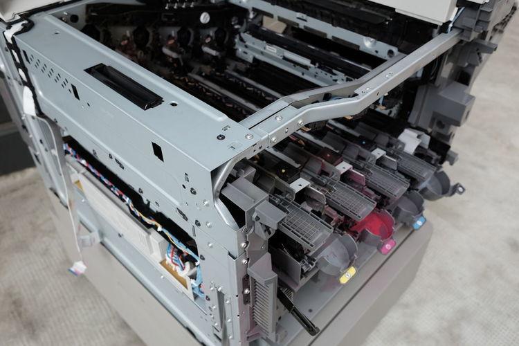 Copier carcass under repair Service Broken Control Copier Copy Machine Disassembled Equipment Industry Machinery Metal Multifunction Photocopier Technology