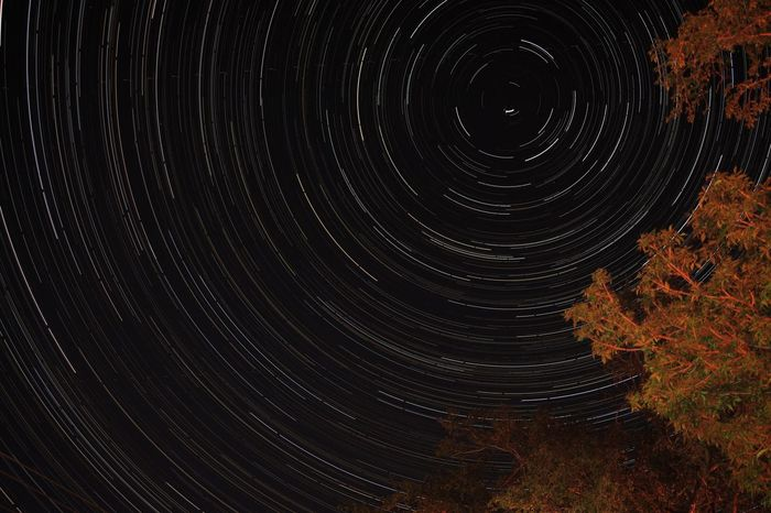 Tranquil Scene Night Nature Tranquility Beauty In Nature Scenics Star Trail Astronomy Outdoors No People Autumn Star - Space Concentric Sky Space