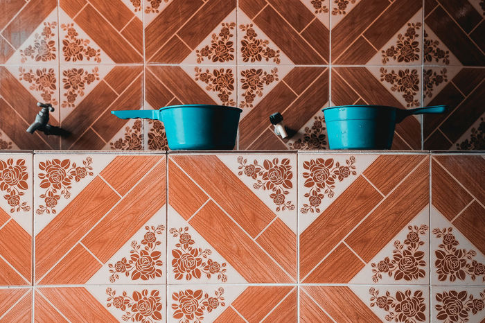 Pattern Indoors  No People Tile Container Brown Kitchen Domestic Room Close-up Household Equipment Red Tiled Floor Floral Pattern Wudu Wuduq Cleansing Mosque Musallah Hygiene
