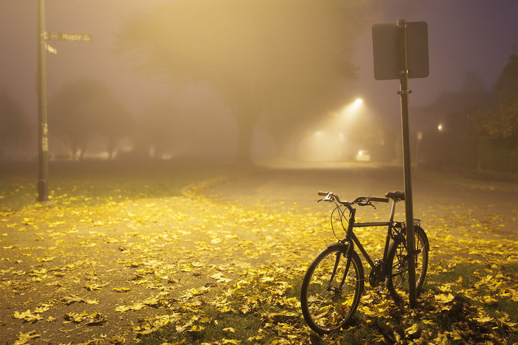 Bicycle parked on street light at night